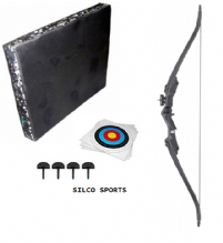 SILCO Archery Black Family / Youth Recurve Bow Complete Starter Set 20Lbs